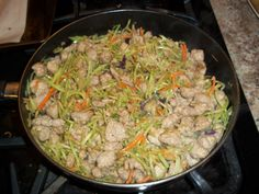Here is my version of Egg Roll in a Bowl.  I used lean turkey and only 1 TBSP ghee so this would be FP on THM.  It serves 8 but, 5 people ate the whole thing in  20 min! 24 oz turkey sausage 1 TBSP ghee onion, garlic & ginger Chinese 5 spice 24 oz broccoli slaw Bragg's liquid aminos  Cook meat in ghee.  Add the onion, garlic and ginger and cook until veggies are soft & meat is cooked.  Add slaw & cook until tender.  Add the Bragg's & 5 spice & cook for a minute or 2 longer.