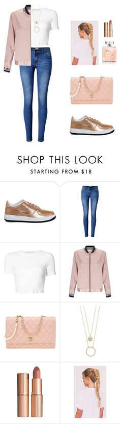 """""""sporty chic"""" by candynena228 ❤ liked on Polyvore featuring NIKE, WithChic, Rosetta Getty, Miss Selfridge, Chanel, Kate Spade and Charlotte Tilbury"""