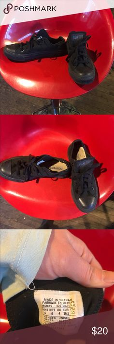 Converse black all stars Gently used unisex shoes. Women's size 6 men's/boys size 4 Converse Shoes Sneakers