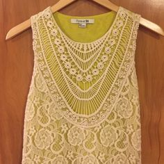 Forever 21  Bohemian Lace Dress Neon yellow/acid green lining pops with white lace overlay. Intricate knit collar adds gorgeous detail to make this a must-wear festival style. 60s chic vibe tank dress is perfect for summer! Forever 21 Dresses Mini