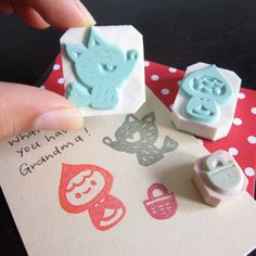 Little Red Riding Hood Rubber Stamps Set of 3 por ParadeMade