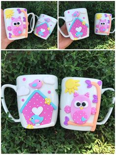 Polymer clay pink handmade homemade mug owl house birds love happy