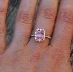 2.84ct Cushion Peach sapphire Champagne sapphire 14k rose gold diamond ring engagement ring... this is it!