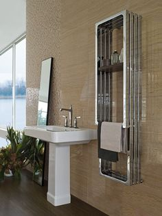 awesome Best of Modern Home Radiators and Towel Warmers for a Luxury Bathroom White Master Bathroom, Modern White Bathroom, White Vanity Bathroom, Small Bathroom, Home Radiators, Bathroom Radiators, Spa Inspired Bathroom, Glass Sink, Contemporary Baths