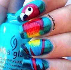 Cool parrot nail polish