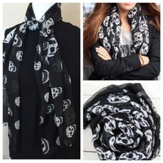 """New Silk Scull Black & White Designer Style Scarf New Sheer Silk Scull Black & White Fashion Scarf - fabulous fun fashion piece - this is a light weight scarf that is rectangular, 70"""" long and would look cute as an accent to any outfit or double and  tie on your favorite handbag. Bundle for more savings. #sculls #mcqueen #scarfs Lovesdesigner Accessories Scarves & Wraps"""