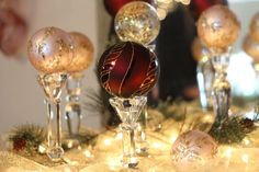 love the fancy balls on dollar store candle holders Christmas Items, Christmas Love, Christmas Balls, Christmas Projects, All Things Christmas, Holiday Crafts, Holiday Fun, Christmas Holidays, Christmas Ornaments