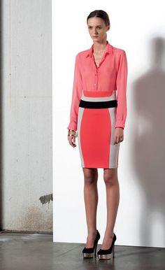 Look 68 . 619 Camicia / Blouse . 718 Gonna / Skirt . 243 Bracciale / Bracelet . 212P Scarpa / Shoes