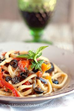Scialatielli peppers, eggplant and black olives
