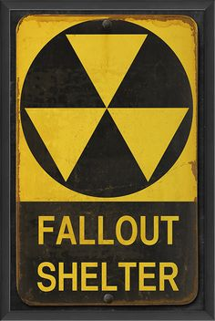 The Artwork Factory Fallout Shelter Framed Graphic Art Fallout Theme, Fallout Art, Fallout Props, Wasteland Party, Fallout Shelter Sign, Art Room Posters, Post Apocalypse, Decorative Signs, Retro