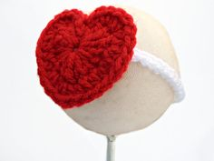 White Crocheted Baby Headband with Red Heart by DarlingDaisyShoppe, $6.00