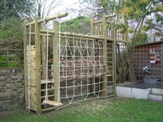 Wooden Climbing frame for small garden - swing, scramble net and wooden tower Backyard Fort, Backyard Playground, Backyard Landscaping, Wood Playground, Kids Outdoor Play, Kids Play Area, Outdoor Fun, Garden Climbing Frames, Wooden Climbing Frame
