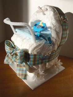 Diaper Carriage Baby Shower Gift www.2CuteDesignsL...
