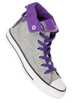 CONVERSE Womens Chuck Taylor All Star Slouchy Hi Fleece grey/purple