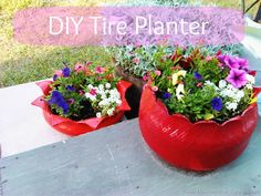 Turn a tire into a clever planter for your porch or garden. You've probably seen hanging tire planters, but this DIY morphs their utiliarian structure into something truly unrecognizable.