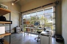 Garage studio!  Artist studio with glazed garage door by Mell Lawrence Architects | Remodelista
