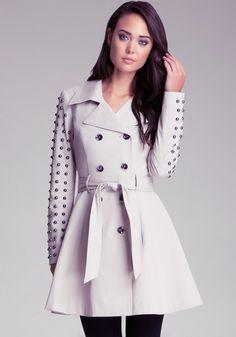 bebe   Studded Sleeve Flared Trench - Clothing - Jackets & Coats