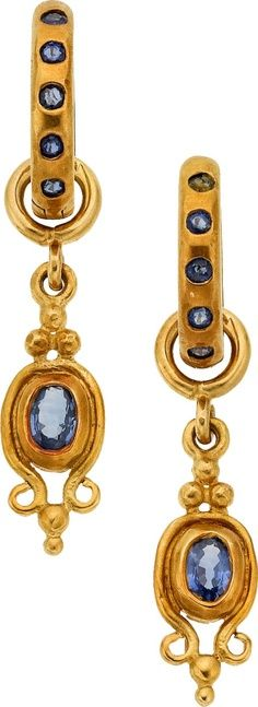 Loree Rodkin sapphire and gold earrings