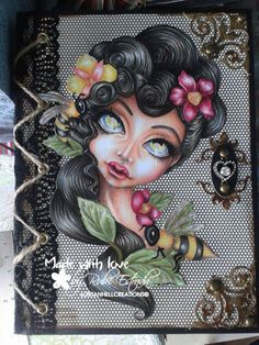 colored with wood pencils, digistamp mother of bees by lostanhellcreations