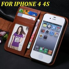 For iPhone 4 4S Mobile Phone Case Luxury Plain Skin Flip Leather Case Cover For Apple iPhone 4 4S With Card Slot & Photo Frame