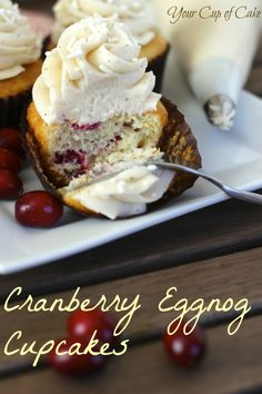Cranberry Eggnog Cupcakes... looks like Christmas!
