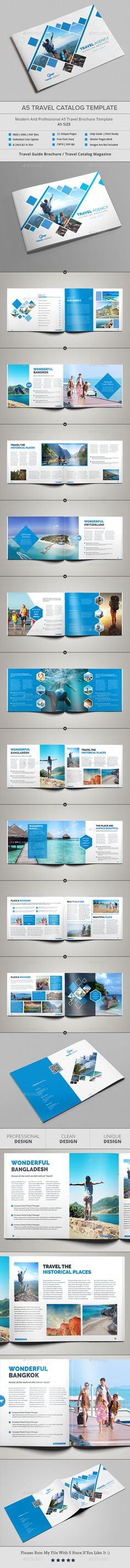 A5 Travel Catalog Template - #Catalogs #Brochures Download here: https://graphicriver.net/item/a5-travel-catalog-template/20083543?ref=alena994