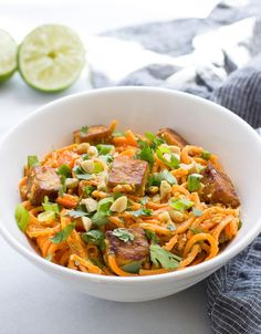 Thai Sweet Potato Noodles with Peanut Sauce and Crispy Tofu |a healthy low-carb meal that's packed with flavor!  grain-free, gluten-free and vegan