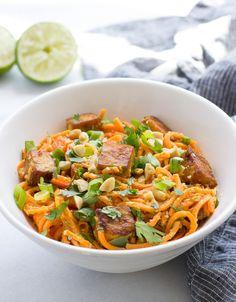 Thai Sweet Potato Noodles with Peanut Sauce and Crispy Tofu