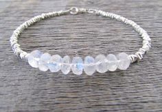 moonstone bracelet moonstone & hill tribe silver by earthwatersol