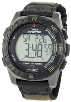 Timex Men's T49854 Expedition Rugged Digital Vibration Alarm Brown Nylon Strap Watch Large