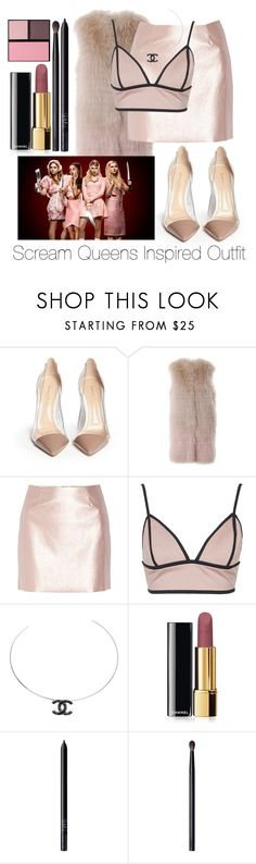 """Scream Queens Inspired Outfit"" by mrs-horan335 ❤ liked on Polyvore featuring Gianvito Rossi, MATE the Label, Morgan, Rare London, Chanel, NARS Cosmetics and Surratt"