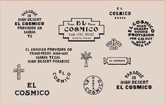El Cosmico various marks. Self Branding, Logo Branding, Vintage Typography, Typography Logo, Typography Design, Graphic Design Branding, Identity Design, Brand Identity, Moon Logo