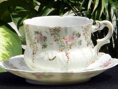 Antique Hand Painted Demitasse Teacup and Saucer - European Tea Cup 1160 by BarnKittyTreasures, $43.00 USD