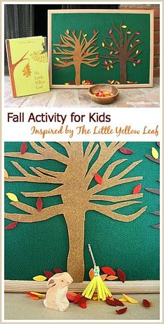 Fall Play Activity for Kids: Felt Autumn Tree Invitation to Play inspired by Carin Berger's The Little Yellow Leaf! A fun sensory play activity for toddlers and preschoolers encouraging pretend play and fine motor practice. ~ http://BuggyandBuddy.com