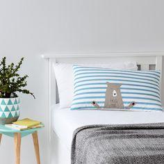 Adairs Kids Boys Hug Me Pillowcase Blue - Bedroom Quilt Covers & Coverlets - Adairs Kids online