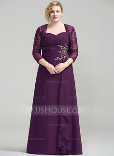 [CA$ 191.80] A-Line/Princess Sweetheart Floor-Length Chiffon Mother of the Bride Dress With Beading Sequins Cascading Ruffles