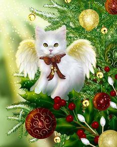 Glamboyl: Christmas Angel Cat art by Melissa Dawn. Christmas Animals, Christmas Cats, Vintage Christmas, Christmas Time, Holiday, Merry Christmas, Xmas, Illustration Noel, Illustrations