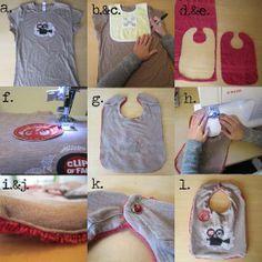 Giymediğiniz kıyafetlerden bebeğinize önlük yapabilirsiniz!