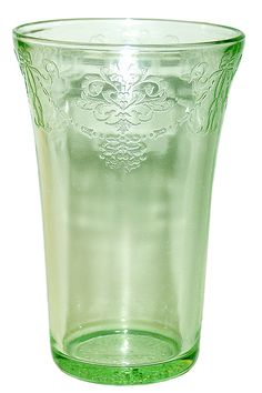 Green Tumbler Depression Glass Bowknot Pattern.  Made by Belmont Tumbler Company (1920s)