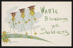 Wattle Blossum into Soldiers. A postcard series from 1916 featuring wattle soldiers by Maisie Carte. The postcards were sold to raise money for the war effort. Images courtesy of The National Museum of Australia.