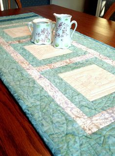 Quilted Table Runner  Batik Table Runner  Green by birdsongquilts