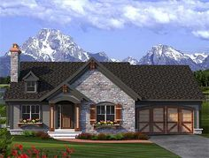 Plan 89933AH: 2 Bed Rustic Ranch with Stone Exterior