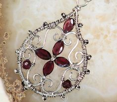 Artisan Wire Wrapped Garnet Necklace Filigree Red Sterling Silver
