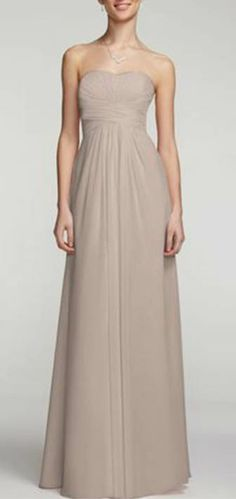 F15555 in Biscotti. A look and feel that your bridesmaids will love, this long and flowy chiffon dress will set your bridal party apart from the rest! Strapless a-line silhouette features ultra-feminine pleated bodice.