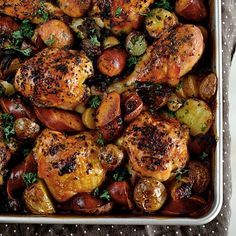 Spanish Chicken with Chorizo and Potatoes, a tray of citrusy roast you can put together with one eye closed....(recipes says to cook at 220c...according to my chart that is 425f...please correct me if I'm wrong)