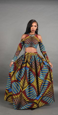 3D Bold African print Maxi skirt. by RAHYMA on Etsy ~African fashion, Ankara…