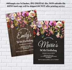Rustic Birthday Invitation, chalkboard or wood background any age 30th 40th 50th 60th 70th 80th surprise, Birthday - card 1017