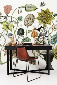 Picture of wallpaper framed next to wall Botanical wallpaper and cognac colered leather chair Botanical Wallpaper, Photo Wallpaper, Wall Wallpaper, Botanical Prints, Modern Floral Wallpaper, Cole And Son Wallpaper, Floral Wallpapers, Botanical Decor, Beautiful Wallpaper