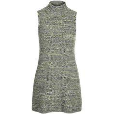 TOPSHOP Tweedy Knit Dress (525 ZAR) ❤ liked on Polyvore featuring dresses, vestidos, short dresses, green, knit mini dress, green knit dress, green dress and green mini dress