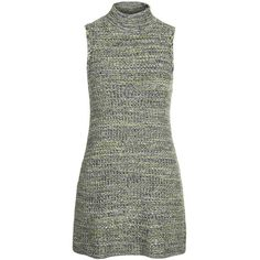 TOPSHOP Tweedy Knit Dress (325 NOK) ❤ liked on Polyvore featuring dresses, vestidos, green, knit dress, funnel neck dress, green dress, green knit dress and topshop dresses